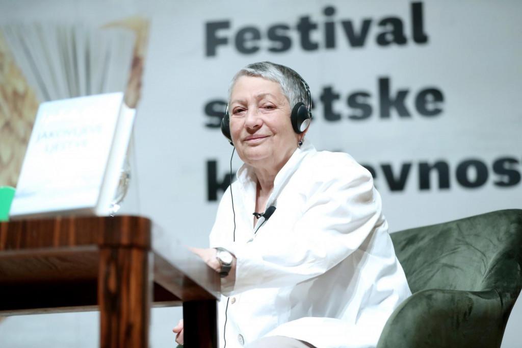 <p>13.09.2019., Zagreb - Knjizevnica Ljudmila Ulicka gostovala je na Festivalu svjetske knjizevnosti. Photo: Sanjin Strukic/PIXSELL</p>
