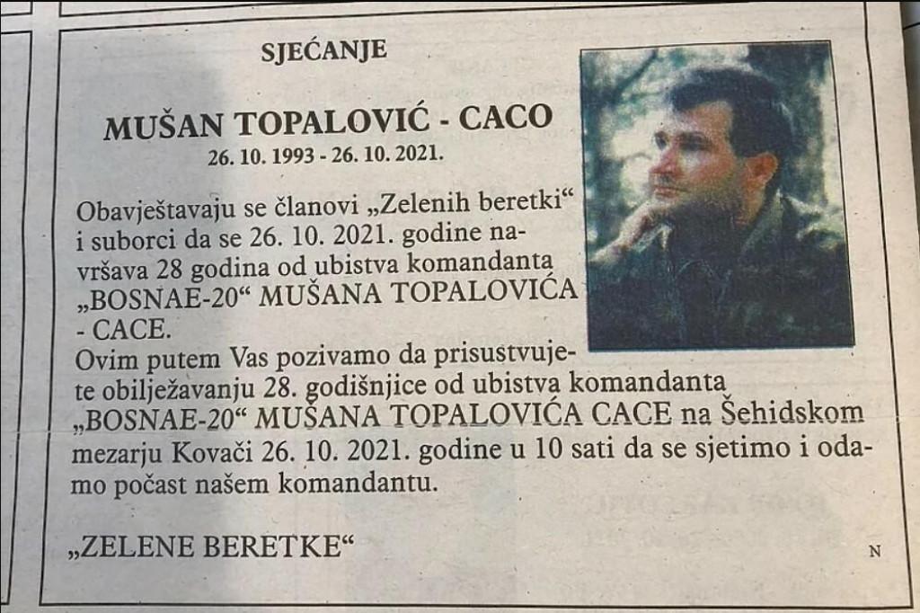 <p>Zelene beretke odale počast Caci dan uoči odluke o podizanju spomenika njegovim žrtvama na Kazanima</p>